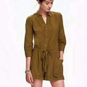 Old Navy Moss Button Up Drawstring Utility Romper
